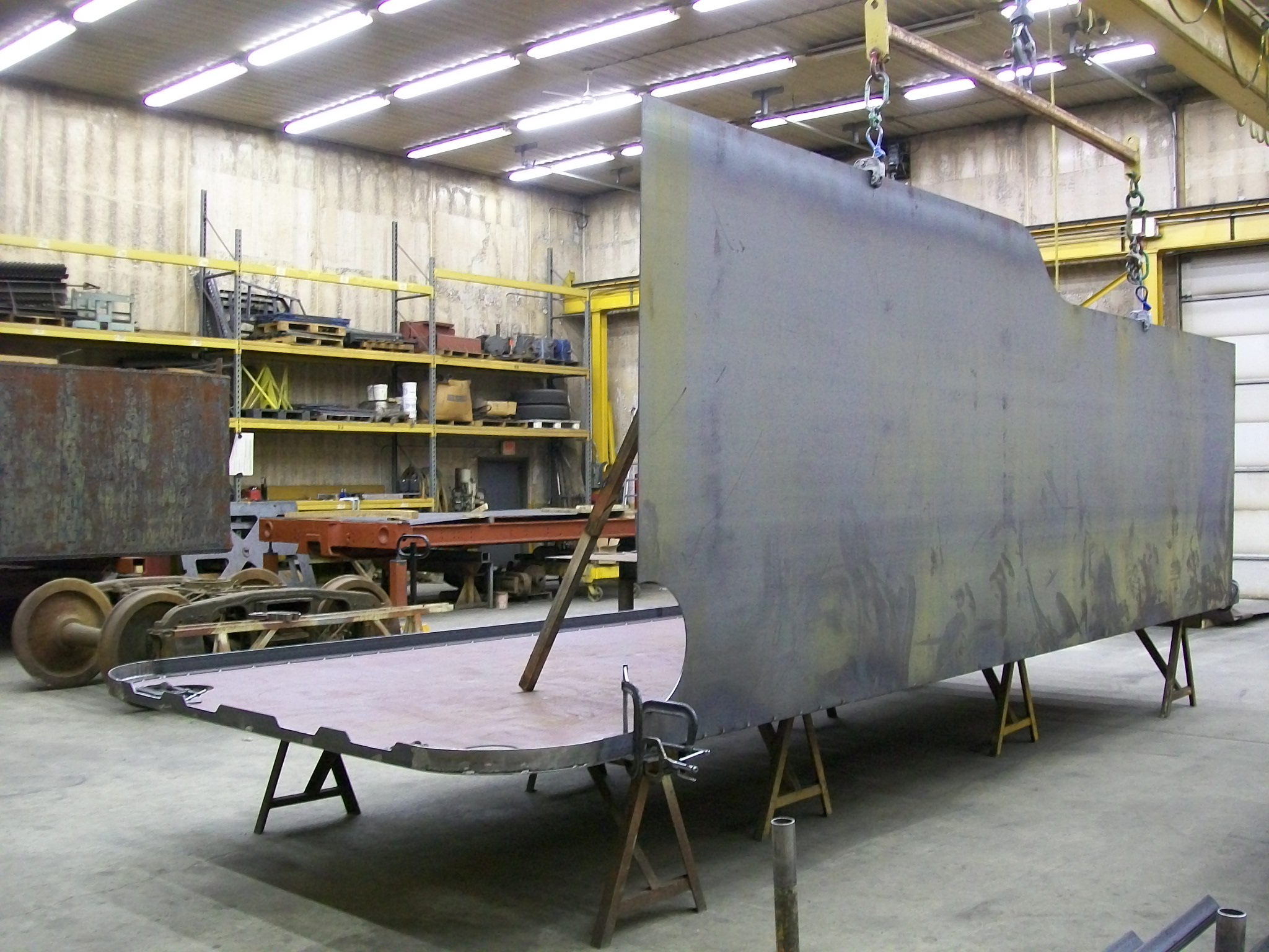 New C&NW 1385 tender tank under construction at DRM Industries in Lake Delton, Wis. Feb 10, 2012. Photo from DRM Industries.