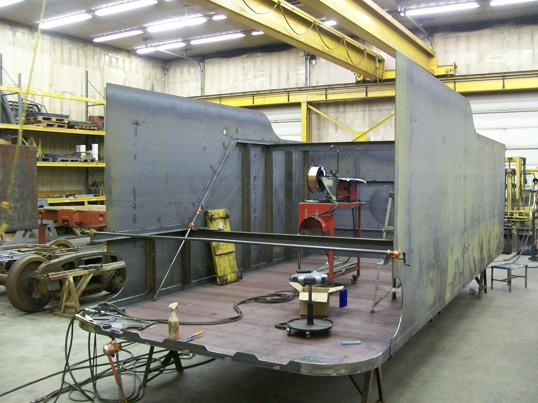 C&NW 1385 new tender tank under construction at DRM Industries. February 2012. Photos by DRM Industries