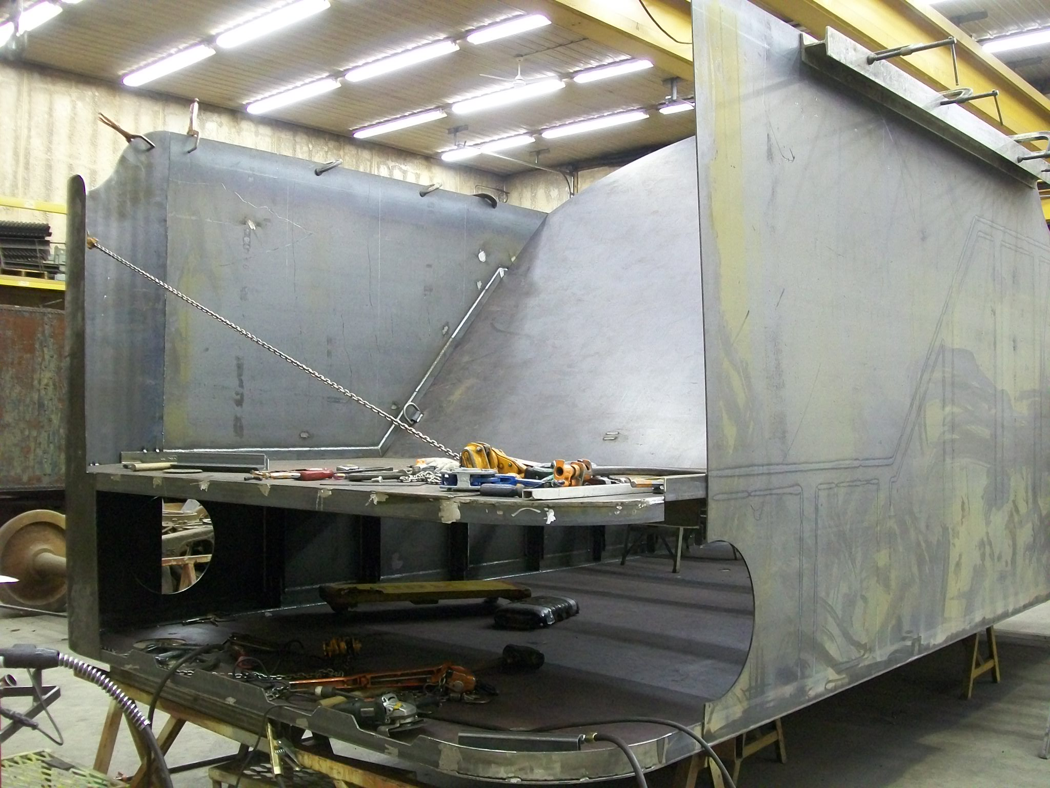 New C&NW 1385 tender tank under construction at DRM Industries. February 28, 2012. Photo by DRM Industries