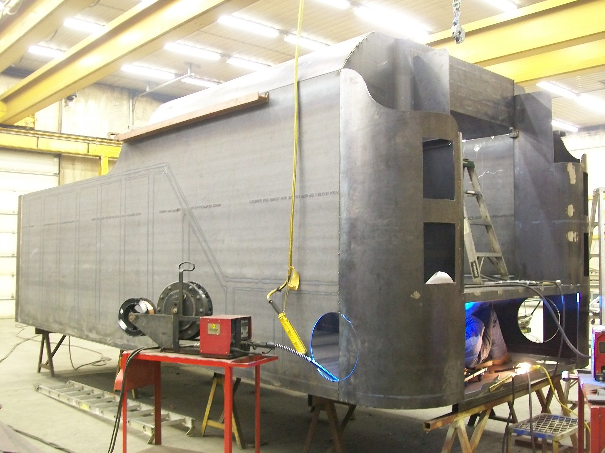 New C&NW 1385 tender tank under construction at DRM Industries. March 1, 2012. Photo by DRM Industries