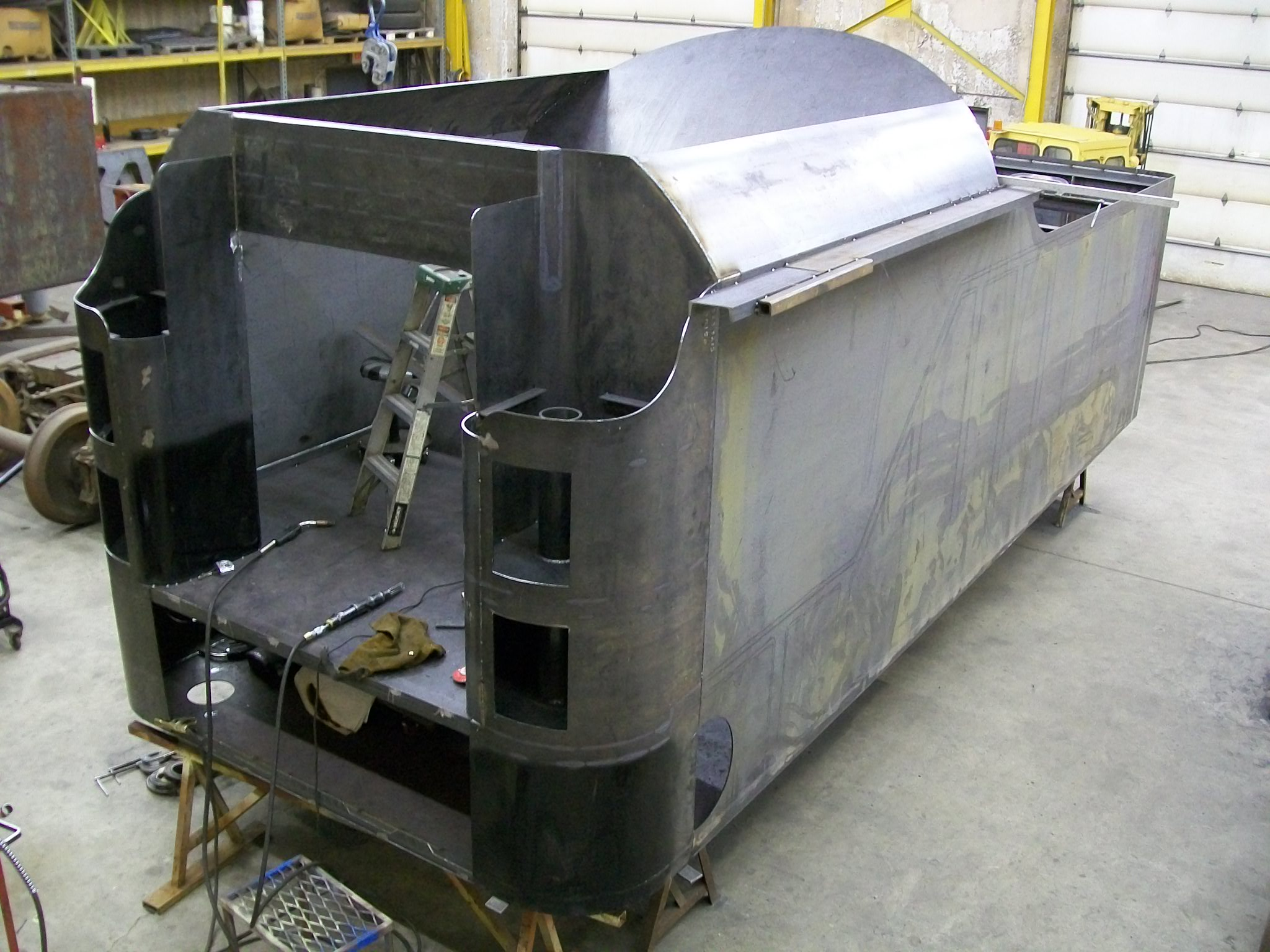 New C&NW 1385 tender tank under construction at DRM Industries. March 2, 2012. Photo by DRM Industries