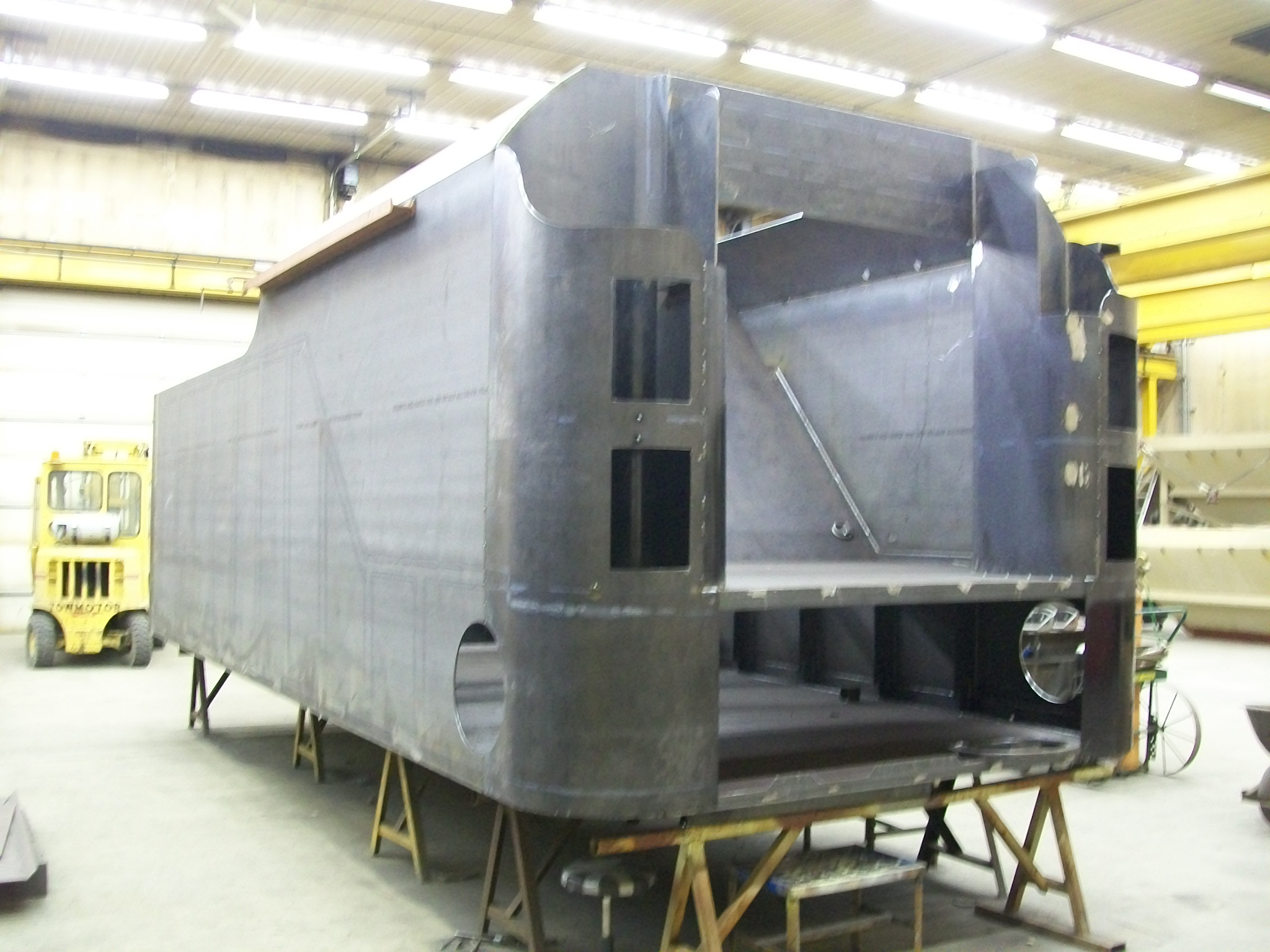 New C&NW 1385 tender tank under construction at DRM Industries. March 5, 2012. Photo by DRM Industries
