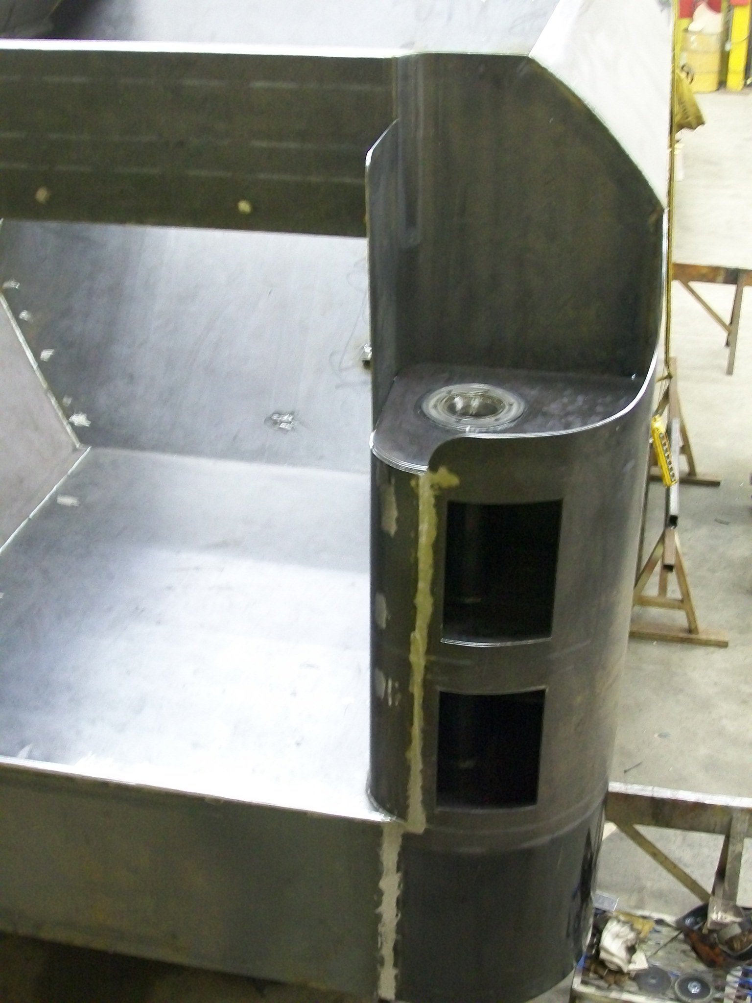 New C&NW 1385 tender tank under construction at DRM Industries. March 16, 2012. Photo by DRM Industries