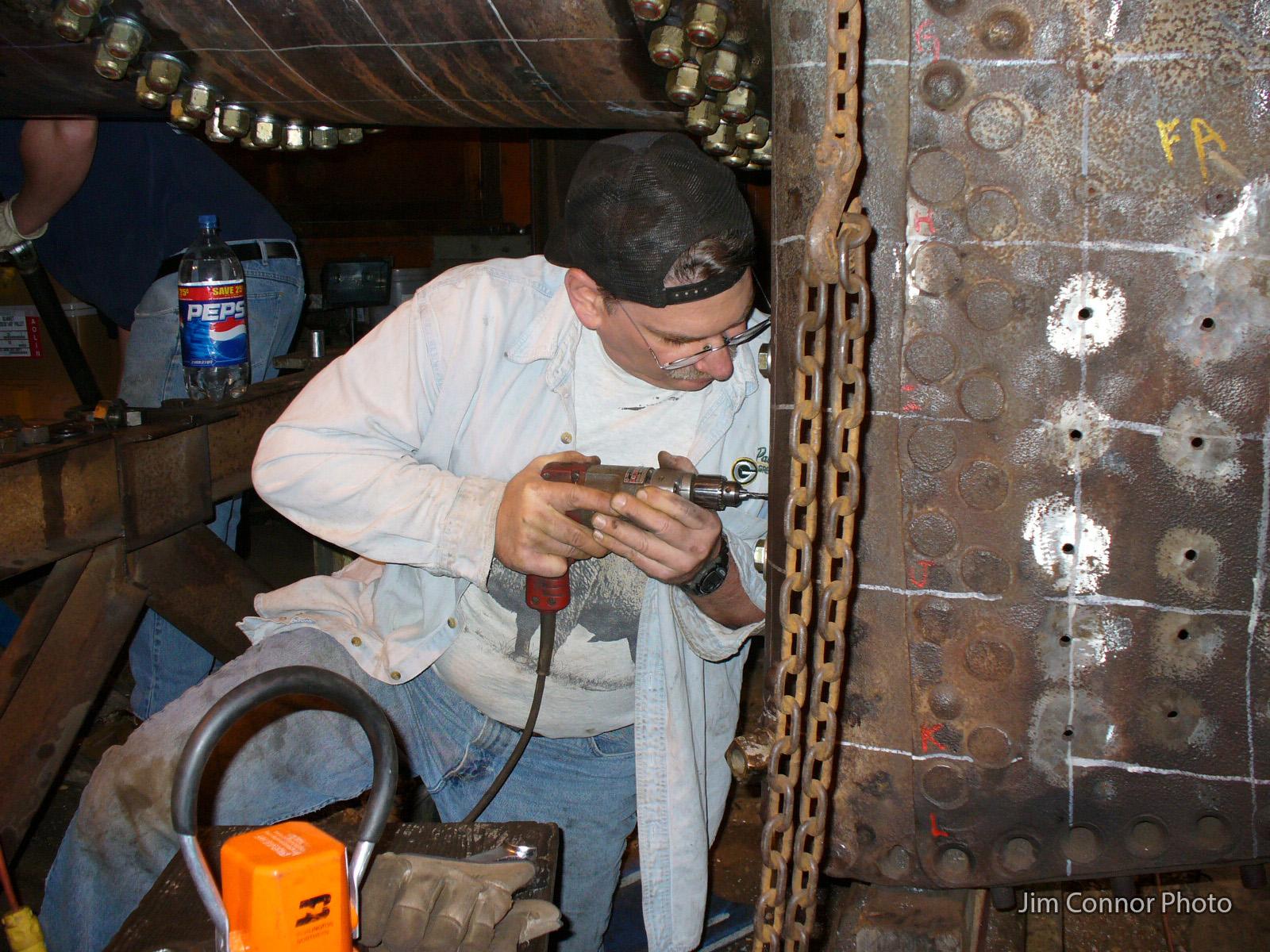 WCC1_Restoration_2000s_Doug-C-drilling-for-throat-sheet-backer-plate