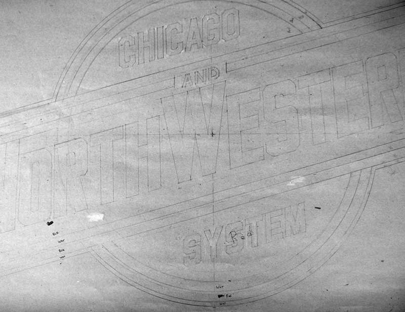 Stencil prepared for lettering the C&NW 1385 tender.  Photo courtesy Richard Dipping.
