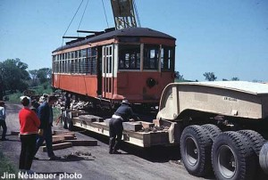 Trolley car being loaded to leave MCRM.