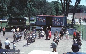 Dedication ceremony for the 40 and 8 car on June 8, 1969. The car is now at the National Railroad Museum in Green Bay, WI.