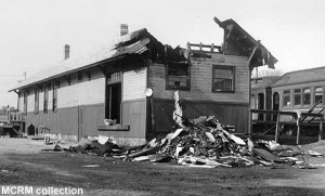 April 5, 1970 photo shows damage caused to depot by a fire a day earlier; MCRM collection