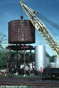 Water tank erected, 1974; Jim Neubauer photo.