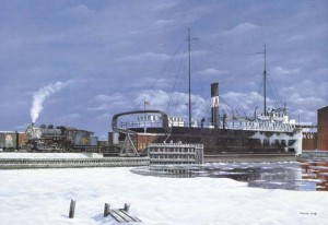 Russ Porter's painting of KGB&W #49 switching Ann Arbor car ferry No. 3 at Kewaunee circa 1930