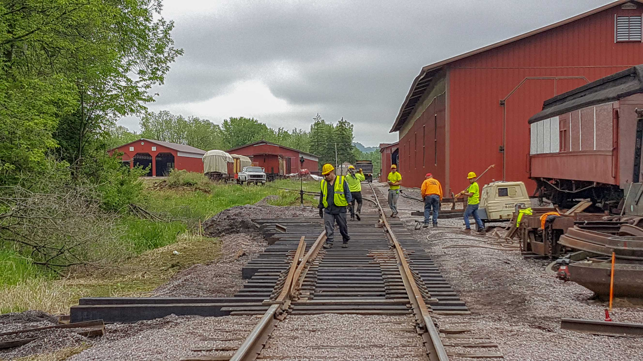 crews installing track switch
