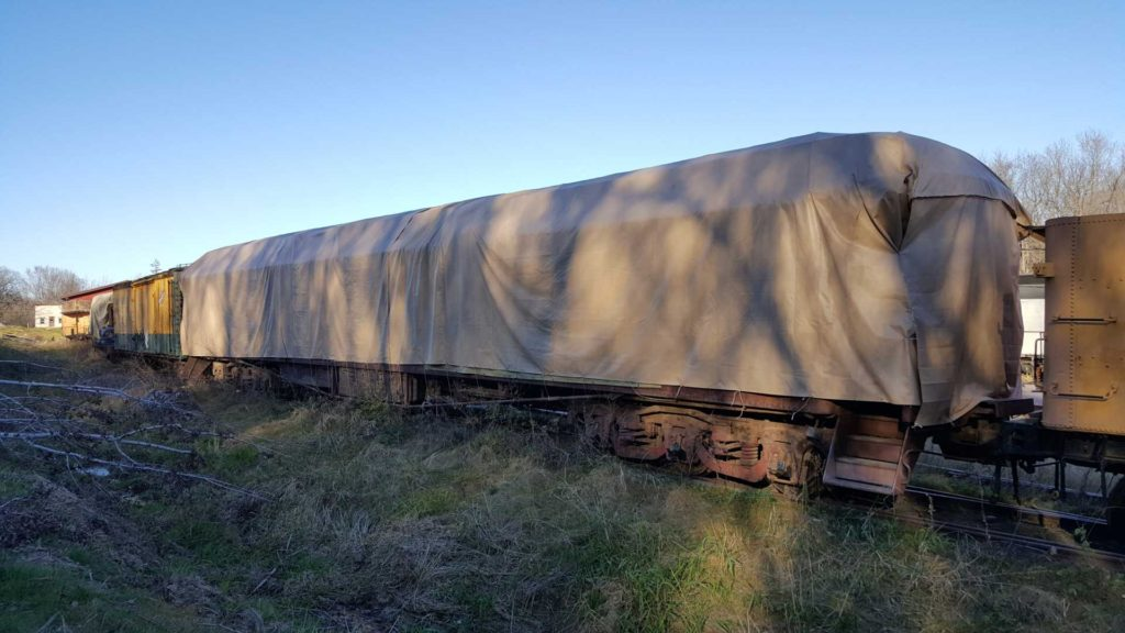 Tarped train car