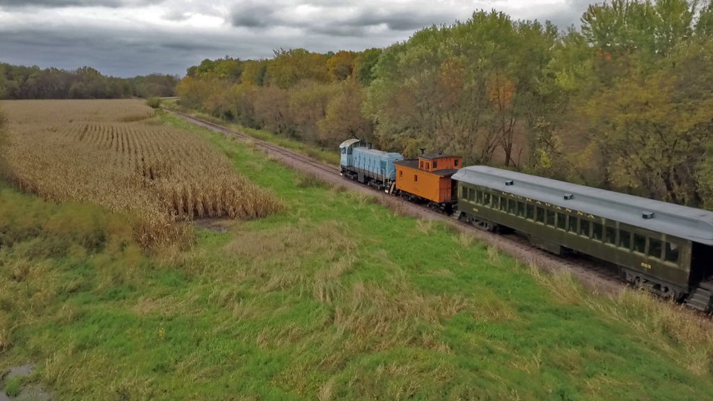 Mid-Continent Railway Museum train passing corn field