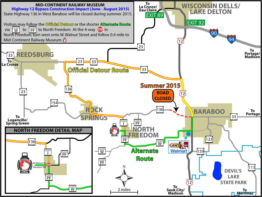 Highway 136 Detour Map for Baraboo Bypass Project