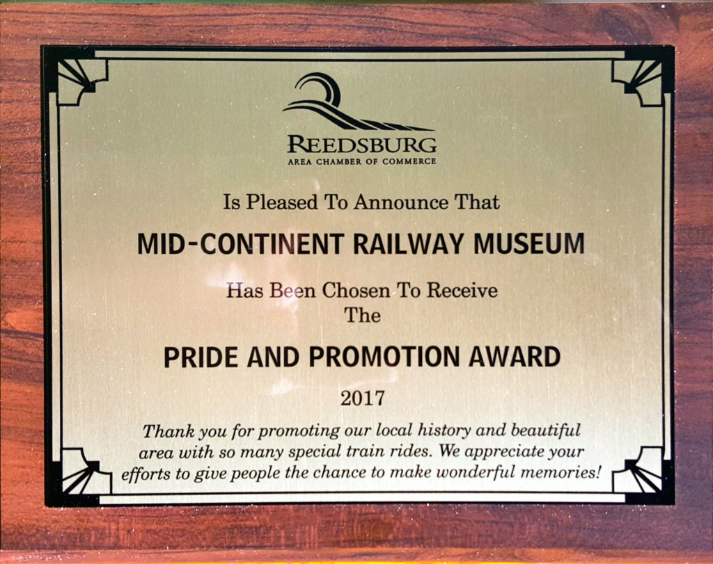 Pride and Promotion Award 2017 plaque