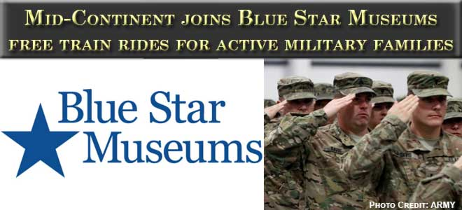 Blue Star Museums logo and soldiers