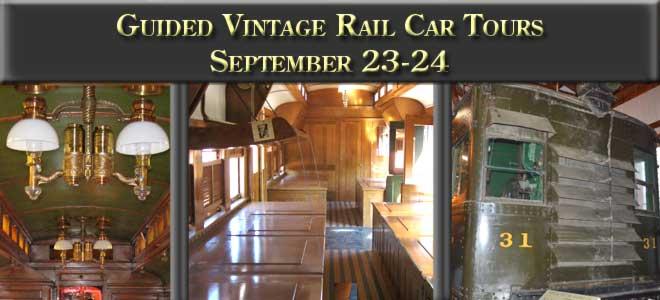 Guided vintage rail car tours September 23-24, 2017