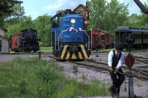 Trainman operating switch stand.