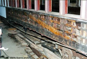 The side framing of the Milwaukee Lake Shore and Western #63 as we found it. Note the lack of blocking and other details found in the Pullman car.