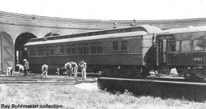 C&IM 90 as an all-wood car, just as it was received from CP&StL; at Jacksonville, IL roundhouse, c.1926; Ray Buhrmaster collection