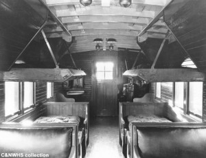 CNW drovers caboose interior after 1937 rebuild, C&NWHS collection, no specific date on 8x10 B&W print