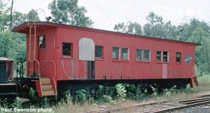 C&NW 10208 drovers caboose before restoration, 8/83, 35mm Kodachrome transparency. Paul Swanson photo.