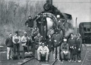Volunteer with steam locomotive in 1971