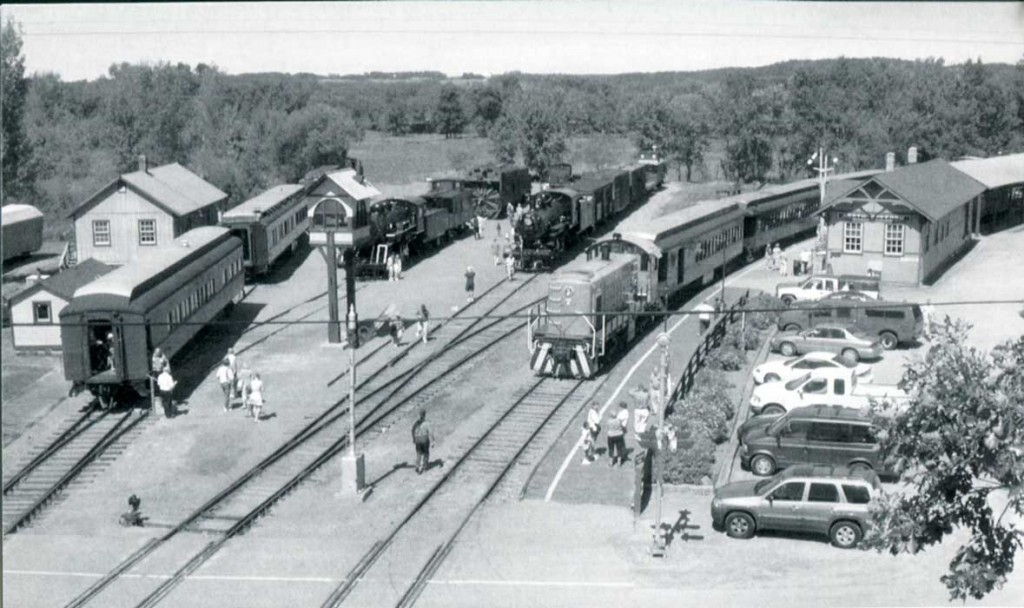 View of trains and depot from Mid-Continent water tower
