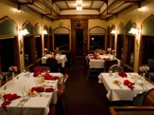 Tables are ready aboard the Saturday evening dinner train. Experience traditional railroad elegance.