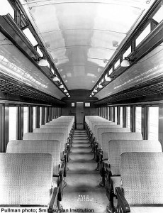 Builders photo of interior of DLW 424, sister to DLW 425 at the museum; Pullman photo, Smithsonian Institution; from Paul Swanson