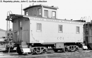 Duluth, Missabe & Iron Range caboose #C-74; Duluth, MN; c.1964; D. Repetsky photo, John C. La Rue, Jr. collection.