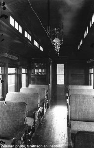 #1's interior, builders photo, 1898. Pullman builders photo; Paul Swanson collection