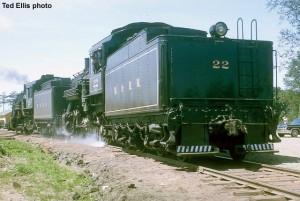 #22 under steam on M&HM, c.1965. Ted Ellis photo.