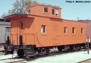 MILW #01524 wooden caboose, fresh paint, roster shot.  Oct. 1970.  Ektachrome 35mm transparency.  Philip A. Weibler photo.