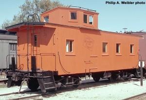 MILW #01524 wooden caboose, fresh paint, roster shot.  Oct. 1970.  Ektachrome 35mm transparency.  Philip A. Weibler photo.