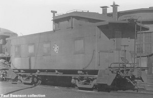 Experimental steel caboose X916749, Bensenville, IL, 11-30-47.  Paul Swanson collection.