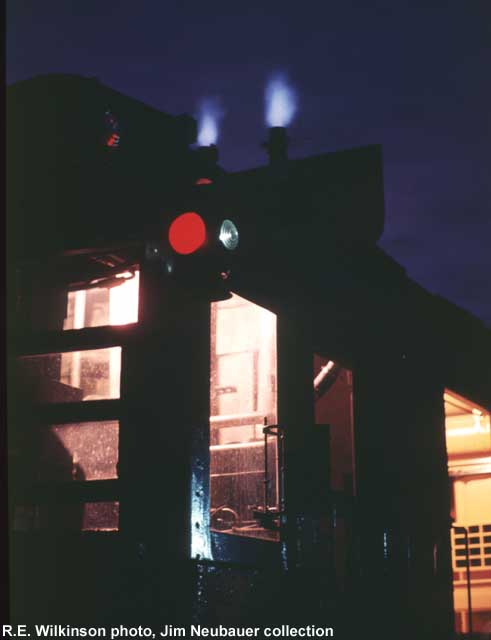 Exhaust stacks of MW 31 at night; July 1973; R.E. Wilkinson photo, Jim Neubauer collection