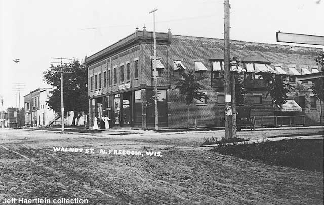 A view of the hardware store at the main intersection in North Freedom (today's 4-way stop).