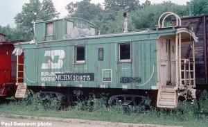 BN 10975 caboose before painting, August, 1983, 35mm Kodachrome transparency. Paul Swanson photo.
