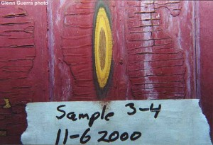 An area of the car showing how the samples are marked. This photo is of sample 3-4.
