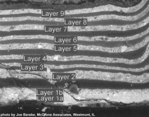 This photo of the cross section of the yellow paint layers from sample 1-13 under the hood, enlarged from the photo below, shows the layers of paint labeled by McCrone for indentification in their analysis. The light areas are the yellow paint and are labeled layers 1 through 9. In between the yellow layers are the clear varnish layers.