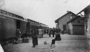 Passenger and freight business was brisk this day, as a Lake Shore passenger train stops at Antigo, Wisconsin. Langlade County Historical Society.