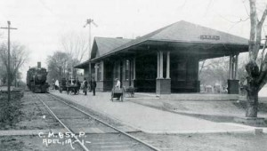 Train at Adel, Iowa depot