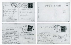 Reverse side of four postcards
