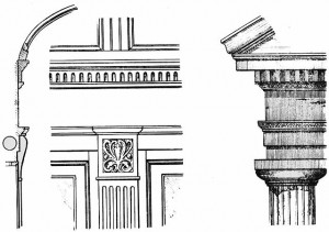 This illustration from Railroad Car Journal, March 1893, shows the relationship of the interior of a railroad car, pictured on the left and center, to the classical architecture pictured on the right. It appeared with an article by Archer Richards on railroad car design.