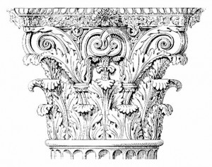This is a classical Corinthian Capital. Note the acanthus leaves and the abrupt top of the capital.