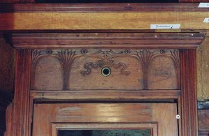 The carving above the entry doors of MLS&W #63 at Mid-Continent is seen here. This sample is the car's most indicative of the direction Art Nouveau style was heading.