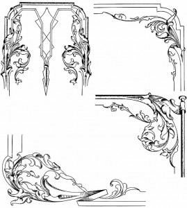 These designs were submitted to Railroad Car Journal by G.O. Nelson. Note the flower growing directly out of the stripe. These designs show the American interpretation of Art Nouveau. They appeared in the September 1897 issue.