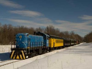 A 1944 diesel locomotive pulls the cars of Snow Train.