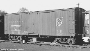 Soo Line #15604 wooden boxcar, date unknown. At North Freedom. Philip A. Weibler photo.